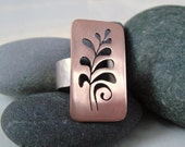Fern Rectangle Cutout Ring in Copper & Sterling