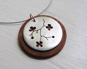 Sakura  Branch Neckwire Necklace in Cherry Wood -- Modern Woods