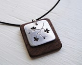 Sakura Branch Cutout Necklace in Walnut on Skinny Greek Cord -- Modern Woods