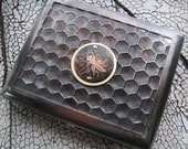 Bee Hive Etched Honeycomb Cigarette Case / Wallet -- Acid Bath Series