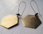 Just Like Honey - Honeycomb Vintage Brass Hexagon Earrings w/ Hematite - Circa Series