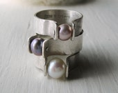 Pretty in Pink -- Pastel Pink Pearl Rivet Ring -- Genuine Cultured Pearl