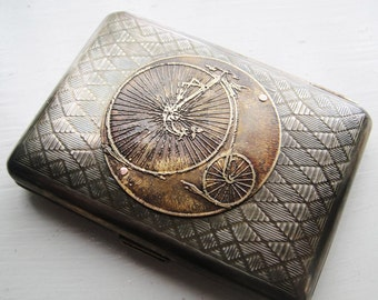 Tribal Bicycle Etched Wallet / Cigarette Case in Diamond Patterned Metal -- Acid Bath Series