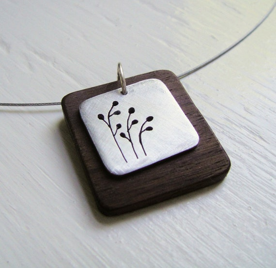 Pussywillow Square Cutout Neckwire Necklace -- Modern Woods