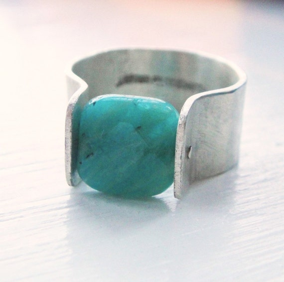 Russian Amazonite Square Rivet Ring
