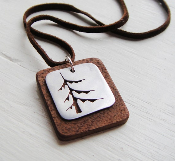 Pine Tree Square Suede Cord Necklace in Walnut -- Modern Woods