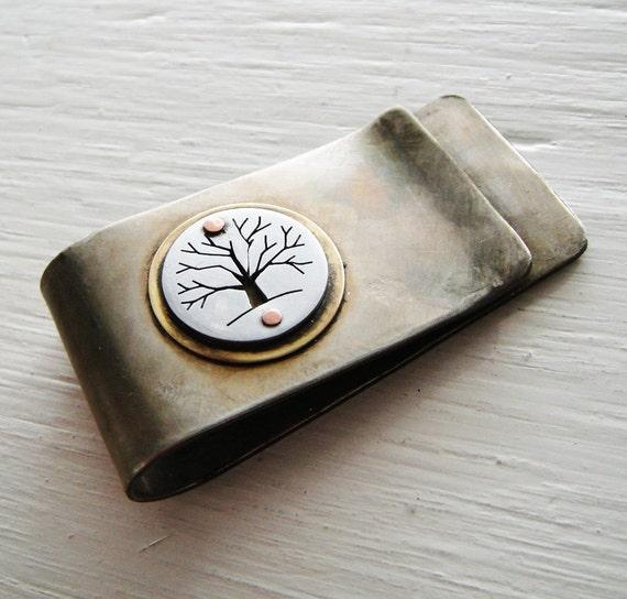 For Michelle--Custom Listing -- Tree Money Clip in Nickel Silver & Aluminum