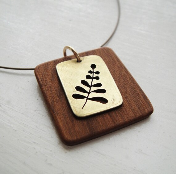 Little Fern Square Neckwire Necklace in Brass & Cherry -- Modern Woods