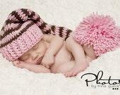Photo Prop Crochet Newborn Baby Elf Hat Pink and Brown