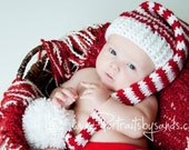 Hand Crochet Elf or Santa Hat in Red and White