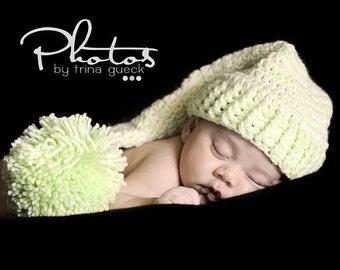 Photo Prop Crochet Newborn Baby Elf  Hat   Mint Green and Cream