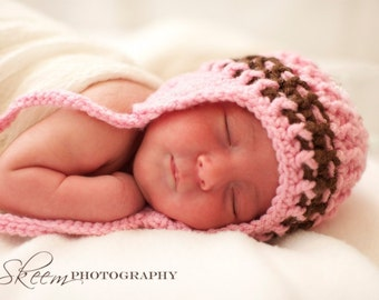 Photo Prop Baby Hat with Ear Flaps in Pink and Brown