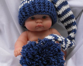 Photo Prop Newborn Baby Elf Hat inCountry  Blue and Cream