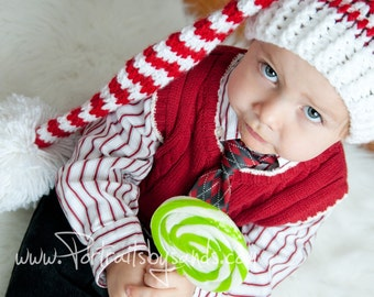 Hand Crochet Christmas Elf Hat or Santa Hat in Red and White for Toddler