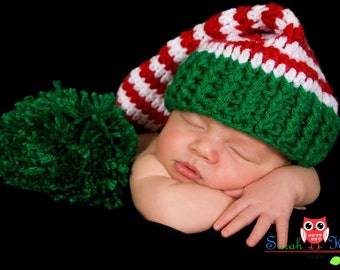 Photo Prop Christmas  Santa Elf Hat In Red And White with Green Pompom