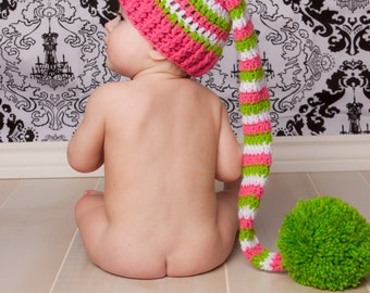 Photo Prop Crochet Baby Elf  Hat  Pink and Green and White