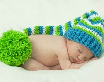 Photo Prop  Elf Hat in Blue, Green, and White with Large PomPom