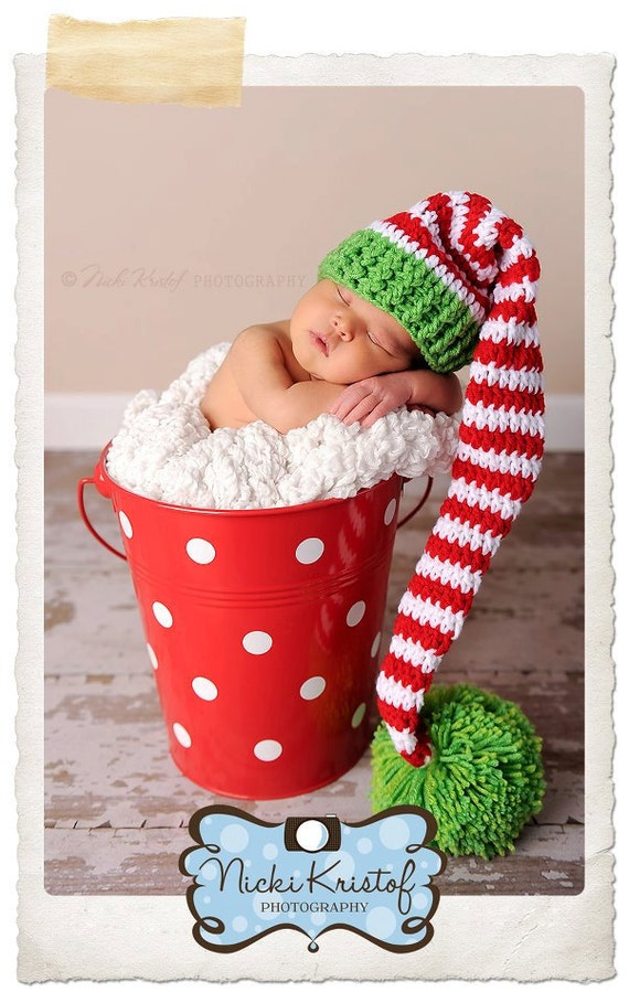Hand Crochet Elf or Santa Hat in Red, Green, and White