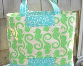 Tote Bag Market Nautical Canvas Beach Green Turquoise Handprinted Seahorse Sandollar