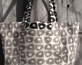 Tote Market Large Canvas Beach Bag Black Taupe Handprinted