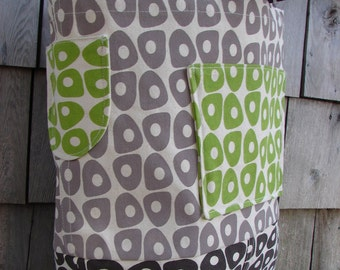 Green/ Taupe/ Brown Geometric Hand Printed - Large Tote
