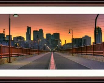Minneapolis, MN Skyline at Sunset - Fine Art Print