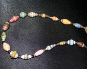 Multicolored Recycled Paper Beaded Necklace