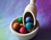Wooden bowl & scoop set for natural play. Waldorf Inspired toy from Natural Kids and Toys.