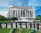 Lincoln Memorial, 5x7 ORIGINAL COLLAGE ART