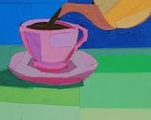 Spring Tea, 7x5 inch ORIGINAL COLLAGE ART