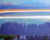Blue Landscape, 7x5 ORIGINAL COLLAGE ART