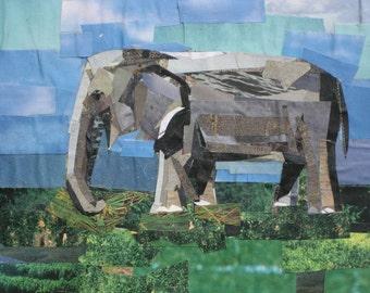 Elephant, 5x7 inch ORIGINAL COLLAGE ART