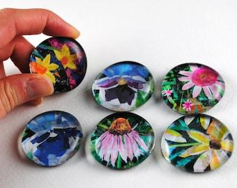 Flower Bubble Magnets, Set of 6