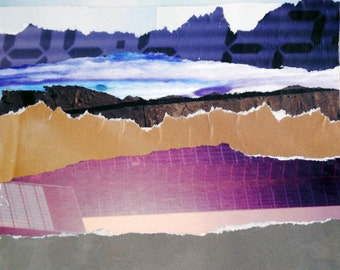 Abstract Landscape, 7x5 ORIGINAL COLLAGE ART