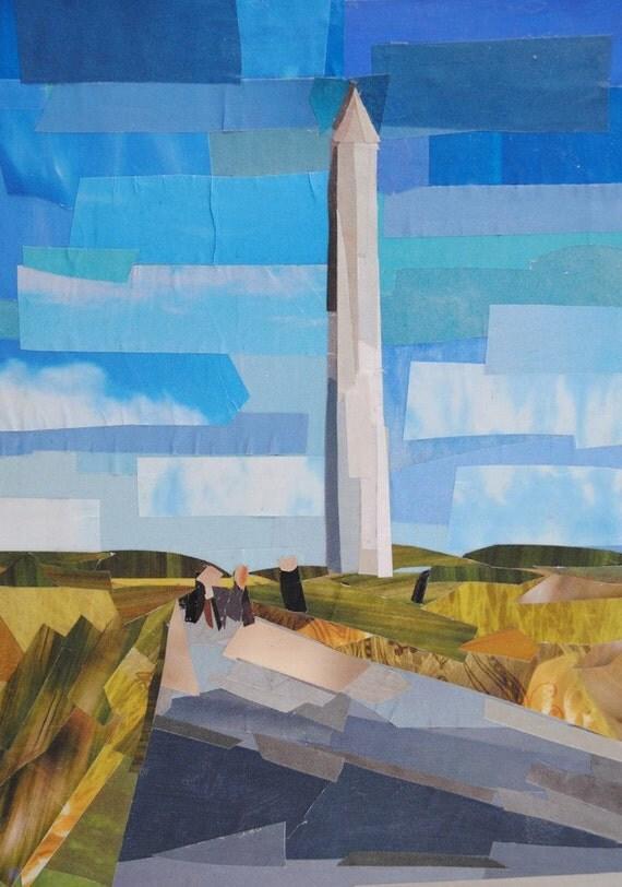 Washington Monument, 7x5 ORIGINAL COLLAGE ART
