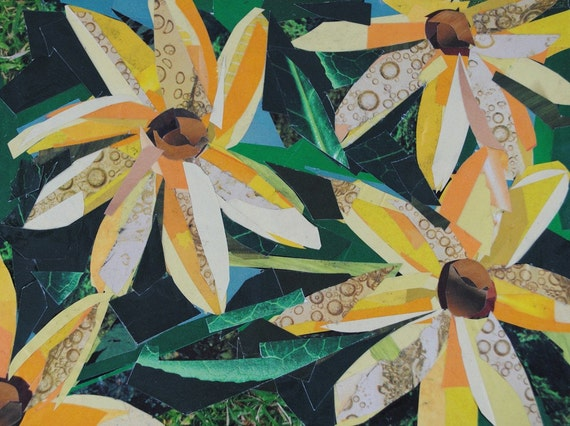Yellow Flowers, 5x7 inch ORIGINAL COLLAGE ART