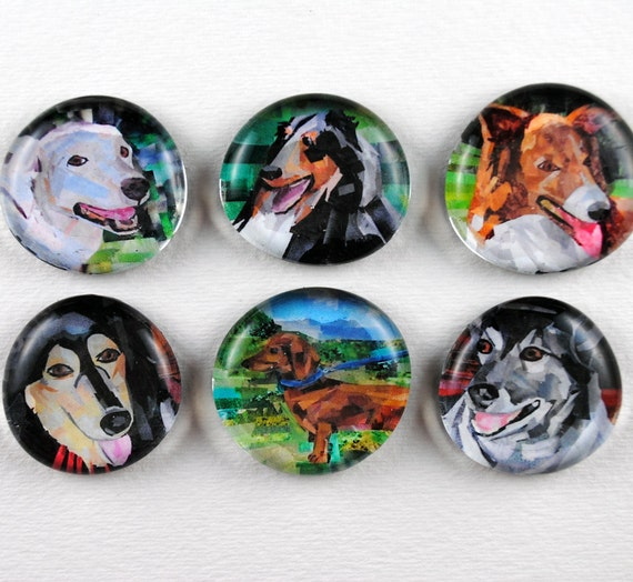 Dog Bubble Magnets, Set of 6