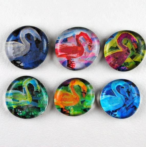 Swan Bubble Magnets, Set of 6