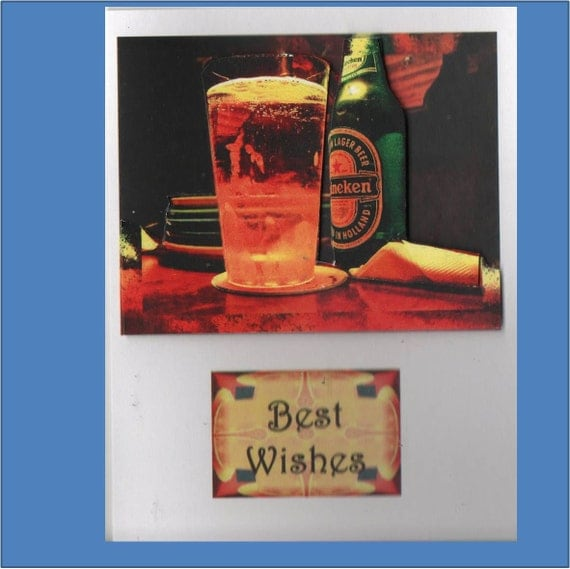 Birthday Thinking of You Beer 3d or Pyramid Card - Masculine Cards - Free Shipping in USA