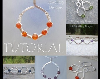 Wire Jewelry Tutorial - COILED JEWELS (3 Projects - Pendant, Earrings and Bangles) - Step by Step Wire Wrapping Wirework - Instant Download