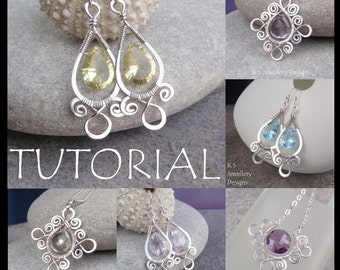 Wire Jewelry Tutorial - SPIRAL LOOP FRAMES (Earrings & Pendants) - Step by Step Wire Wrapping Wirework Instructions - Instant Download