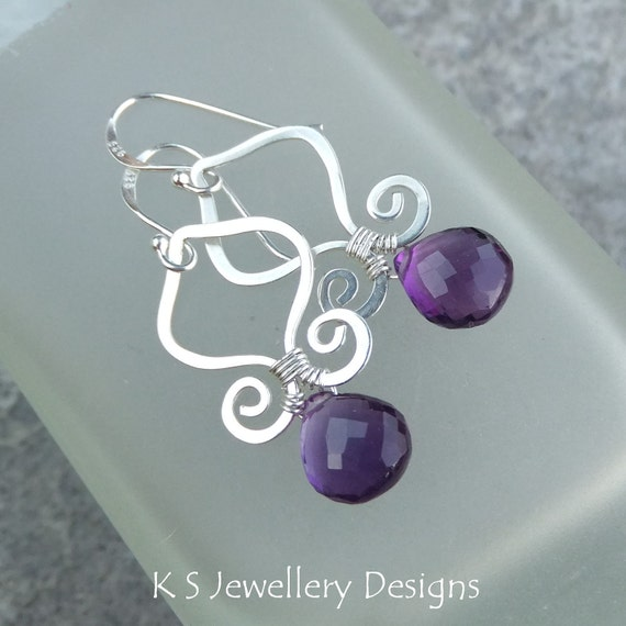 Amethyst Sterling Silver Earrings - GENIE DROPS - Arabesque Spiral Handmade Wire Wrapped Wirework Hammered Jewelry