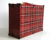Vintage Metal Plaid Tartan Suitcase Shabby Roller Skate Case Doll Clothes