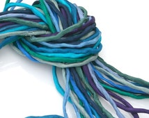 Silk Cord for Jewelry Making 10 ea 2mm Silk Strings Deep Sea Bundle Hand Dyed