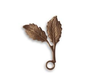 3ea - Vintaj - Beech Leaf  23x16mm   - Aged Brass