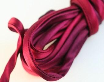 "1/4"" Silk Cord  3 yds Hand Dyed Magenta Garnet"