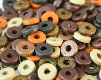Greek Ceramic Beads 100 DARK Earth Color Mix Matte Ceramic 8mm Washer Shaped Beads - Large Holed Bead