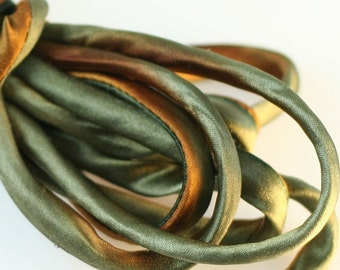 "1/8"" Bias Silk Cord 3 yds Hand Dyed  Rust Brown Moss Jewelry Making Supplies"