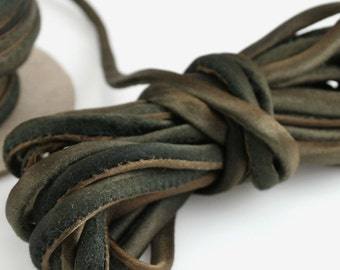 "1/4"" Silk Cord 3 yds Hand Dyed Brown Black Teak Silk Necklace Cord"