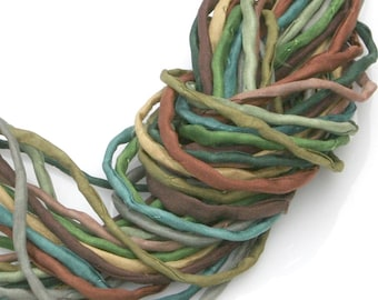 Silk Strings for Jewelry Making 10 ea 2mm Silk Cord Greens Tans Hand Dyed Woodland Forest Colors